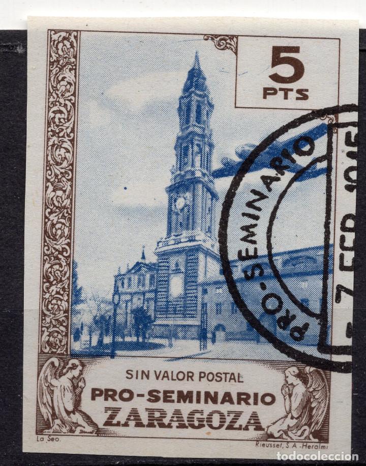 ESPAÑA, , 1945 VIÑETA BENEFICENCIA SEMINARIO ZARAGOZA 20 (Sellos - España - II República de 1.931 a 1.939 - Usados)