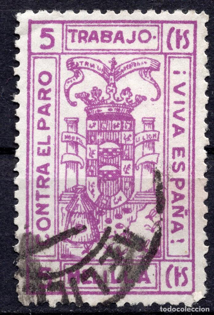 ESPAÑA, , 1936-1939 VIÑETA BENEFICENCIA MELILLA (Sellos - España - II República de 1.931 a 1.939 - Usados)