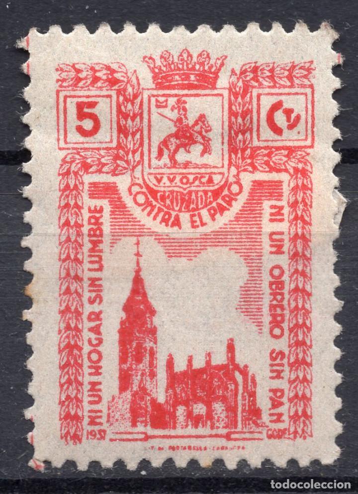 ESPAÑA, , 1936-1939 VIÑETA CRUZADA CONTRA EL PARO 2 (Sellos - España - II República de 1.931 a 1.939 - Usados)