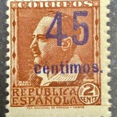 Sellos: 1936 ESPAÑA - EDIFIL NE28** SOBRECARGA AZUL. Lote 268849894