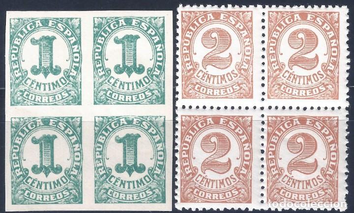 EDIFIL 677-678 CIFRAS 1933 (SERIE COMPLETA EN BLOQUES DE 4). MNH ** (Sellos - España - II República de 1.931 a 1.939 - Nuevos)