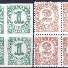 Sellos: EDIFIL 677-678 CIFRAS 1933 (SERIE COMPLETA EN BLOQUES DE 4). MNH **. Lote 268919639
