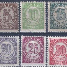 Sellos: EDIFIL 745-750 CIFRAS. 1938 (SERIE COMPLETA). MNH **. Lote 270151913