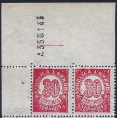 Sellos: EDIFIL 750 CIFRAS 1938. BLOQUE DE 4 (VARIEDAD...ERROR COMPOSICIÓN FLORONES). LUJO. MNH **. Lote 270155618