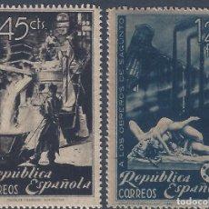 Sellos: EDIFIL 773-774 HOMENAJE A LOS OBREROS DE SAGUNTO 1938 (SERIE COMPLETA). MNH **. Lote 270156968