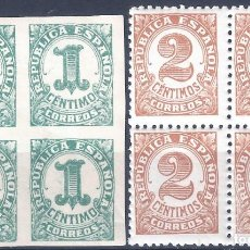 Sellos: EDIFIL 677-678 CIFRAS 1933 (SERIE COMPLETA EN BLOQUES DE 4). MNH **. Lote 270525193