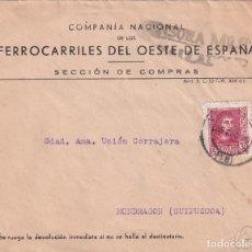 Sellos: SOBRE COMPAÑÍA NACIONAL DE LOS FERROCARRILES DEL OESTE DE ESPAÑA. VIÑETA CRUZADA CONTRA EL FRIO. Lote 271380223
