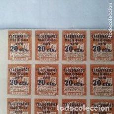 Sellos: 1936 BARCELONA - TELEGRAFOS - EDIFIL 11S - BLOQUE 24 MNH-NUMERO DE CONTROL.- VALOR 2208€. Lote 271405523