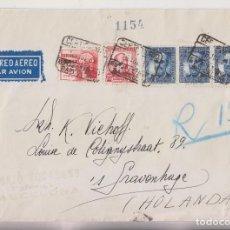 Sellos: SOBRE CERTIFICADO. AÉREO. BARCELONA A HOLANDA. 1937. REMITE FILATÉLICO J. MAJÓ TOCABENS. Lote 276413023