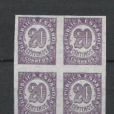 Sellos: ESPAÑA 1938 EDIFIL 748S SIN DENTAR (*) BLOQUE DE 4 PAPEL GRIS - 7/43. Lote 277149253