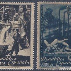 Sellos: EDIFIL 773-774 HOMENAJE A LOS OBREROS DE SAGUNTO 1938 (SERIE COMPLETA). MNH **. Lote 278767893