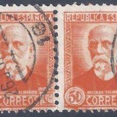Sellos: EDIFIL 671 PERSONAJES (NICOLÁS SALMERÓN) 1932. TIRA DE 4 SELLOS. DOBLE MATASELLOS CÓRDOBA 26-6-1934.. Lote 283049128