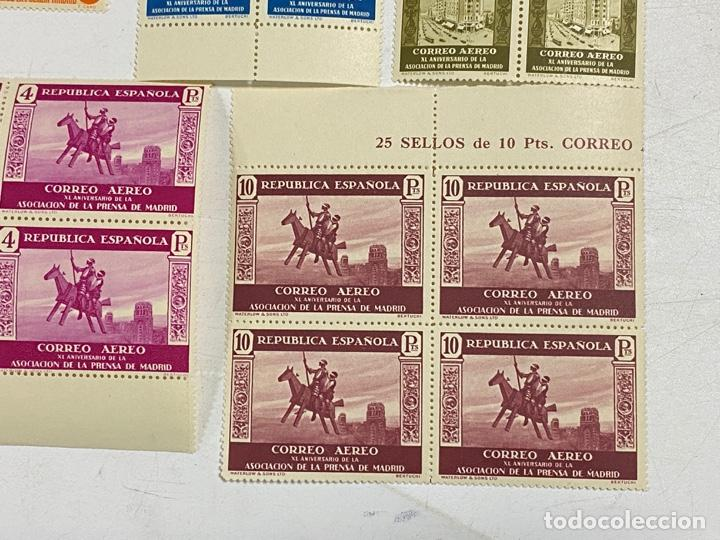 Sellos: ESPAÑA, 1936. EDIFIL 711/725. ASOCIACION PRENSA MADRID. NUEVOS. COMPLETA. BLOQUES DE 4. SIN CHARNELA - Foto 13 - 285367598