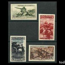 Sellos: ESPAÑA- II REPUBLICA-1939- EDIFIL NE 55A/NE 55D -F-SERIE COMPLETA -(*)- NUEVOS + CPA CERTICADO COMEX. Lote 285636808