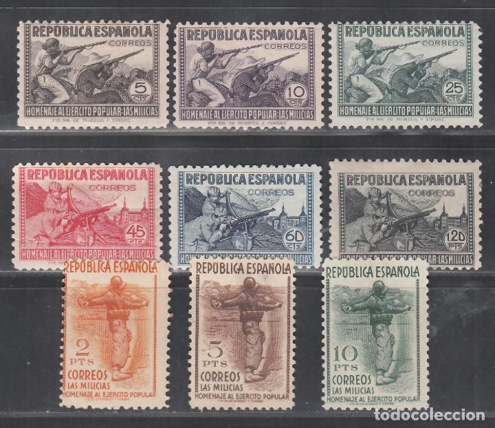 ESPAÑA, 1938 EDIFIL Nº 792 / 800 /*/, HOMENAJE AL EJERCITO POPULAR. (Sellos - España - II República de 1.931 a 1.939 - Nuevos)