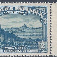 Sellos: EDIFIL 757 DEFENSA DE MADRID 1938. MNH **. Lote 287079573
