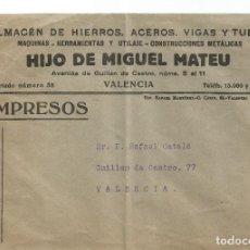 Sellos: HIJO DE MIGUEL MATEU. SOBRE. REPÚBLICA ESPAÑOLA 5 CS. BLASCO IBAÑEZ. Lote 287150303