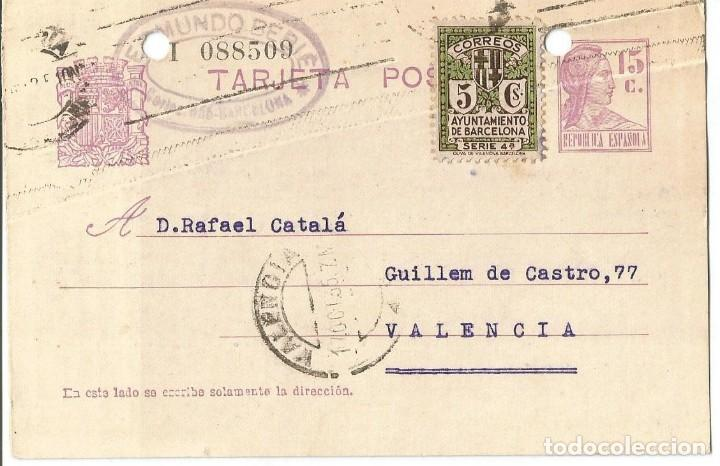 TARJETA POSTAL AYUN. BARNA 5CS. MATRONA REPUBLICANA ESPAÑOLA 15C 1935 (Sellos - España - II República de 1.931 a 1.939 - Cartas)