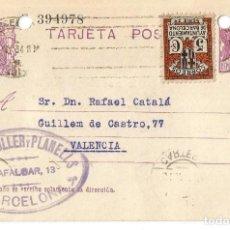 Sellos: TARJETA POSTAL AYUN. BARNA 5CS. MATRONA REPÚBLICA ESPAÑOLA 15C 1934. Lote 287167098