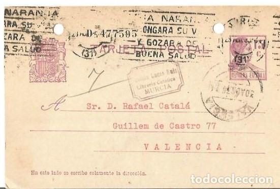 TARJETA POSTAL MATRONA REPÚBLICA ESPAÑOLA. MURCIA 1935 (Sellos - España - II República de 1.931 a 1.939 - Cartas)