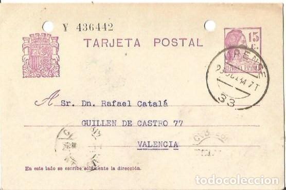 TARJETA POSTAL MATRONA REPÚBLICA ESPAÑOLA 15C. VALENCIA OCT1934 (Sellos - España - II República de 1.931 a 1.939 - Cartas)