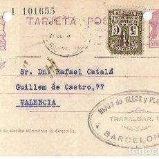 Sellos: TARJETA POSTAL AYUN. BARNA 5CS. MATRONA REPÚBLICA ESPAÑOLA 15C. BARCELONA SEP1935. Lote 287344693