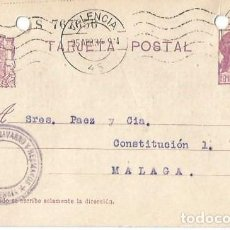 Sellos: TARJETA POSTAL MATRONA REPÚBLICA ESPAÑOLA 15C. VALENCIA ABR1934. Lote 287344903