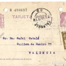 Sellos: TARJETA POSTAL AYUN. BARNA 5CS MATRONA REPÚBLICA ESPAÑOLA 15C. VALENCIA JUN1935. Lote 287345128