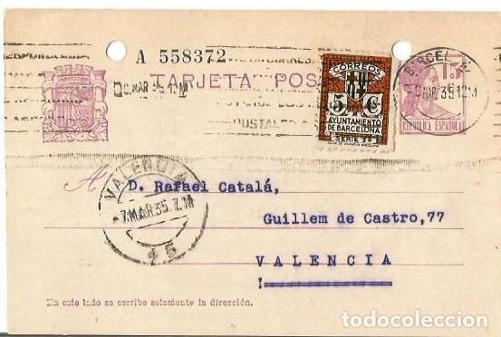 TARJETA POSTAL AYUN. BARNA 5CS. MATRONA REPÚBLICA ESPAÑOLA 15C. BARCELONA MAR1935 (Sellos - España - II República de 1.931 a 1.939 - Cartas)