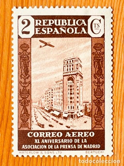 1936, ASOCIACIÓN DE LA PRENSA, EDIFIL 712, NUEVO CON FIJASELLOS (Sellos - España - II República de 1.931 a 1.939 - Nuevos)