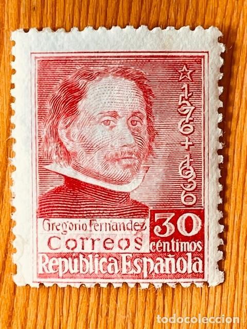 1937, MUERTE DE GREGORIO FERNANDEZ, EDIFIL 726, NUEVO CON FIJASELLOS (Sellos - España - II República de 1.931 a 1.939 - Nuevos)