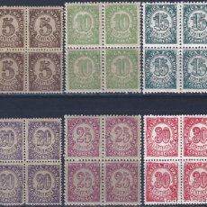 Sellos: EDIFIL 745-750 CIFRAS. 1938 (SERIE COMPLETA EN BLOQUES DE 4) (VARIEDAD...TAMAÑO 5 Y 20 CTS). MNH **. Lote 287788333