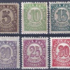 Sellos: EDIFIL 745-750 CIFRAS. 1938 (SERIE COMPLETA). MNH **. Lote 287817013