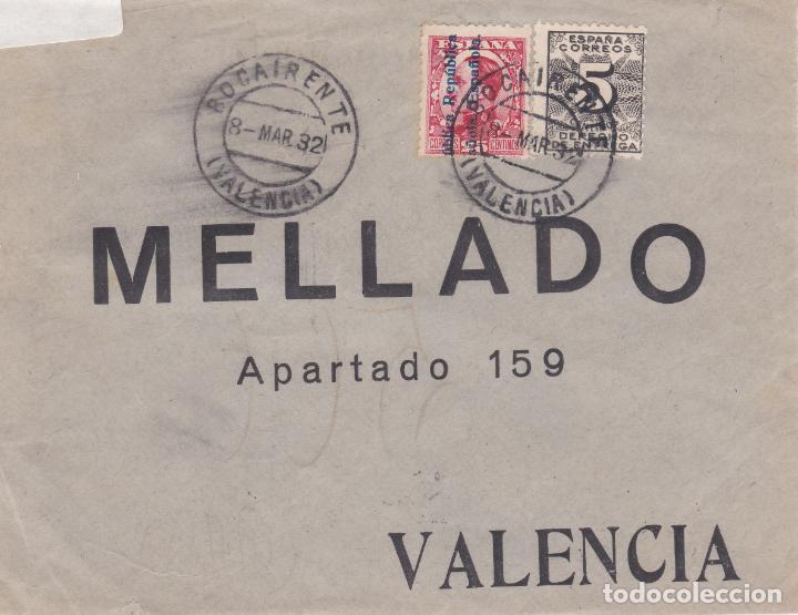 FRONTAL DE BOCAIRENTE A VALENCIA CON SELLOS 598 Y 592.MATASELLO FECHADOR (Sellos - España - II República de 1.931 a 1.939 - Cartas)