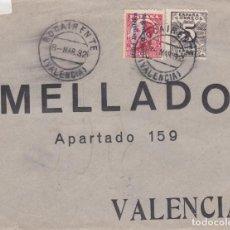 Sellos: FRONTAL DE BOCAIRENTE A VALENCIA CON SELLOS 598 Y 592.MATASELLO FECHADOR. Lote 288872093