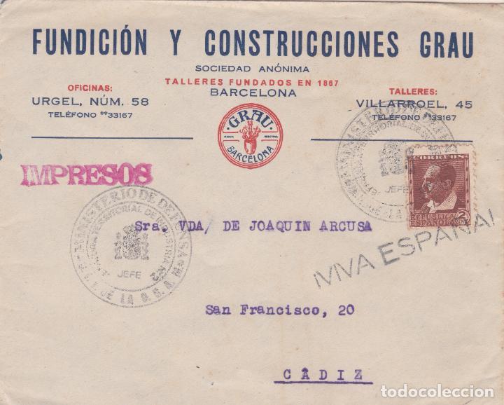 CARTA DE BARCELONA A CADIZ CON SELLO 662.MATASELLADO CON MARCA MINISTERIO DE DEFENSA (Sellos - España - II República de 1.931 a 1.939 - Cartas)