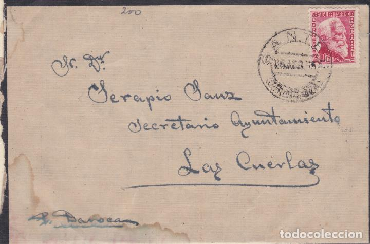 CARTA DE SANTED A LAS CUERDAS ( ZARAGOZA ) MANUSCRITO POR DAROCA SELLO 686 MATASELLO FECHADOR (Sellos - España - II República de 1.931 a 1.939 - Cartas)