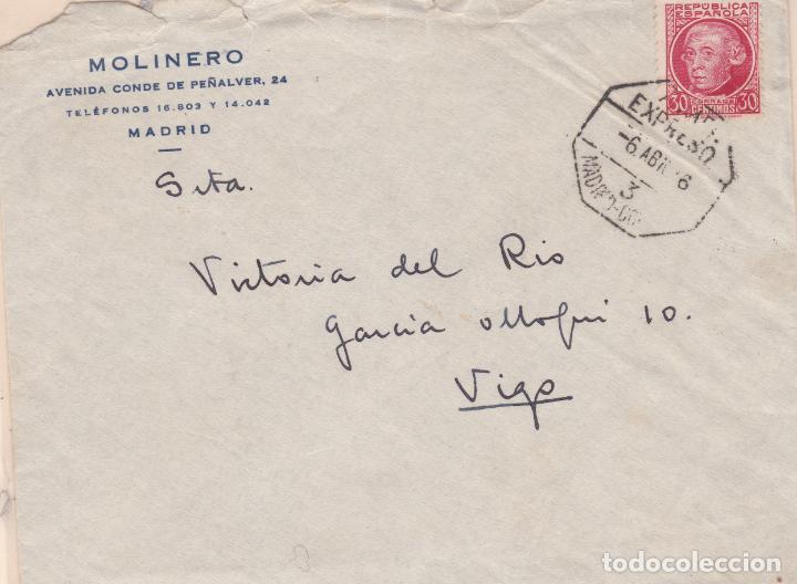 CARTA DE MADRID A VIGO CON SELLO 687 MATASELLO AMBULANTE MADRID CORUÑA (Sellos - España - II República de 1.931 a 1.939 - Cartas)