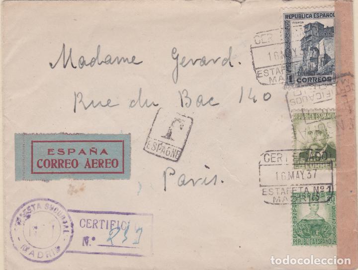 CARTA DE MADRID A PARIS CON SELLO 672, 673 Y 680 CON MATASELLO CERTIFICADO Y BANDA DE CENSURA (Sellos - España - II República de 1.931 a 1.939 - Cartas)