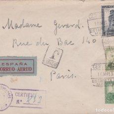 Sellos: CARTA DE MADRID A PARIS CON SELLO 672, 673 Y 680 CON MATASELLO CERTIFICADO Y BANDA DE CENSURA. Lote 288942993