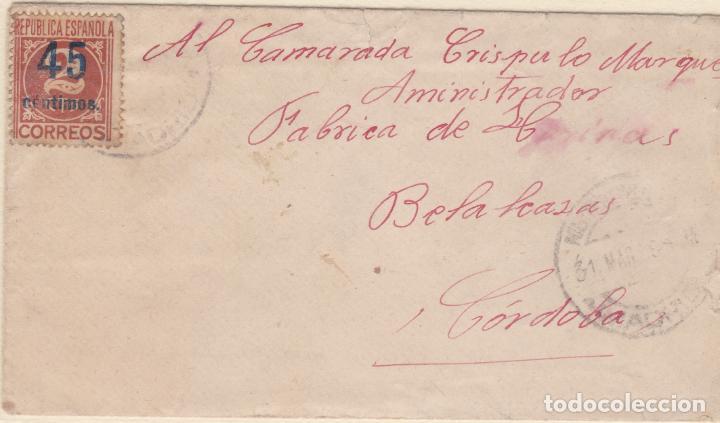CARTA DE MADRID A BELALCAZAR CON SELLO 743 CON MATASELLO FECHADOR (Sellos - España - II República de 1.931 a 1.939 - Cartas)