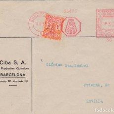 Sellos: CARTA DE BARCELONA A SEVILLA CON FRANQUEO MECANICO DEL LABORATORIO CIBA. Lote 288943683