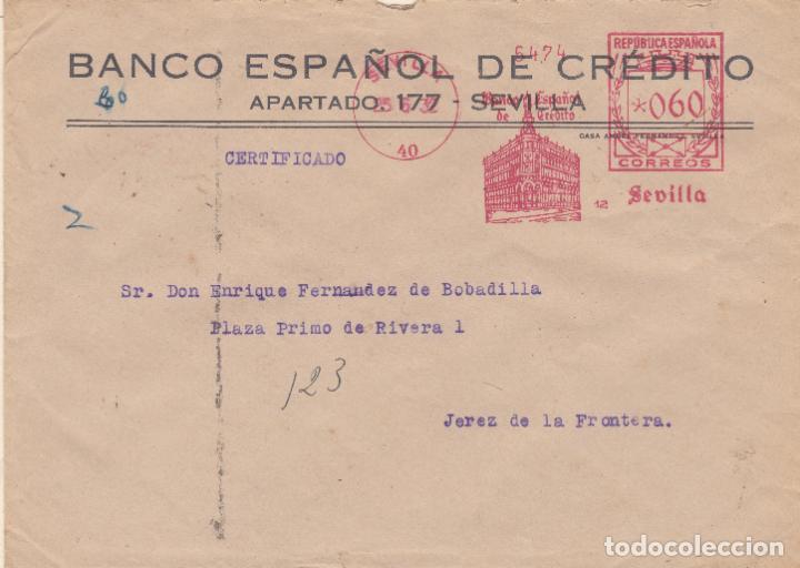 SOBRE CON FRANQUEO MECANICO CERTIFICADO DE BANESTO SEVILLA DE 1932 (Sellos - España - II República de 1.931 a 1.939 - Cartas)