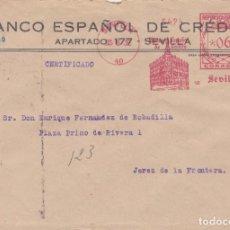 Sellos: SOBRE CON FRANQUEO MECANICO CERTIFICADO DE BANESTO SEVILLA DE 1932. Lote 289326403