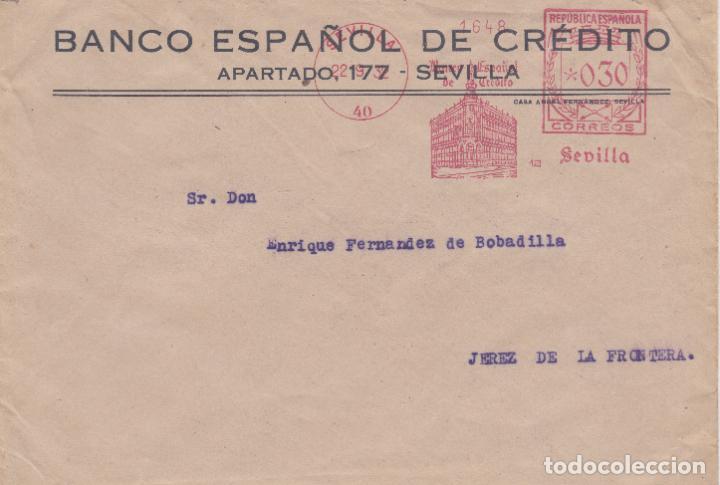 SOBRE CON FRANQUEO MECANICO ORDINARIO DE BANESTO SEVILLA DE 1932 (Sellos - España - II República de 1.931 a 1.939 - Cartas)