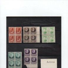 Sellos: ESPAÑA 1932 EDIFIL 662/75 ÑERSONAJES Y MONUMENTOS EN BLOQUE DE CUATRO. MNH.. Lote 289522203