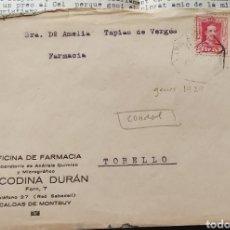 Sellos: ESPAÑA CARTA SELLO ALFONSO CORREO AMBULANTE CALDAS DE MONTBUI 1929. Lote 289887593