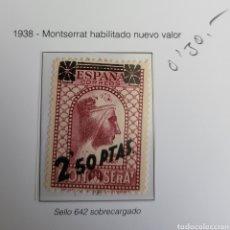 Sellos: SELLO DE ESPAÑA 1938 MONTSERRAT HABILITADO NUEVO VALOR 2,5 PTS EDIFIL 791. Lote 292165713