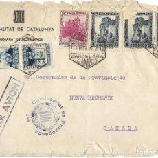 Sellos: 1935 CARTA REPÚBLICA BARCELONA A CANADA. MARCA COMISSARIAT DE PROPAGANDA GENERALITAT DE CATALUNYA. Lote 292273133