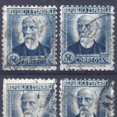 Francobolli: EDIFIL 688 NICOLÁS SALMERÓN 1933-1935. LOTE DE 4 SELLOS (VARIEDAD 688IP...AUREOLA).. Lote 293226798